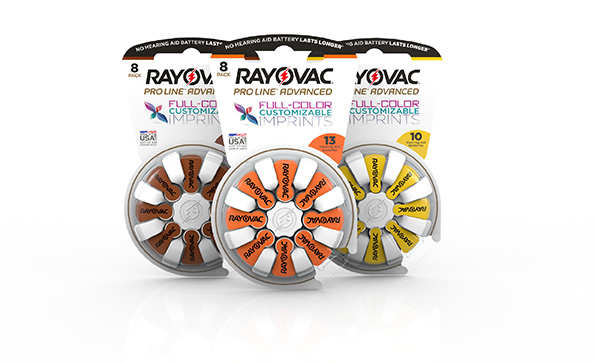 Rayovac Proline custom hearing aid battery packaging imprints